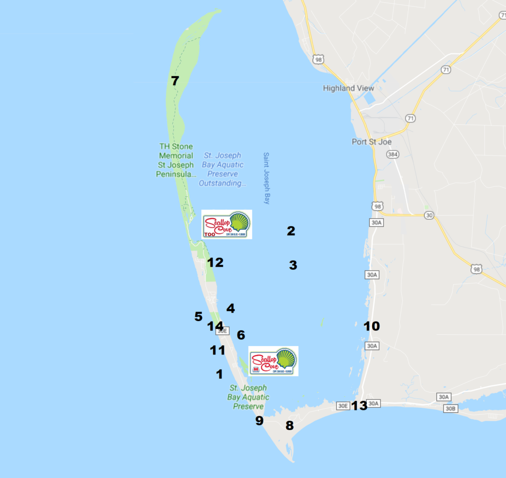 Map of things to do in Cape San Blas Florida