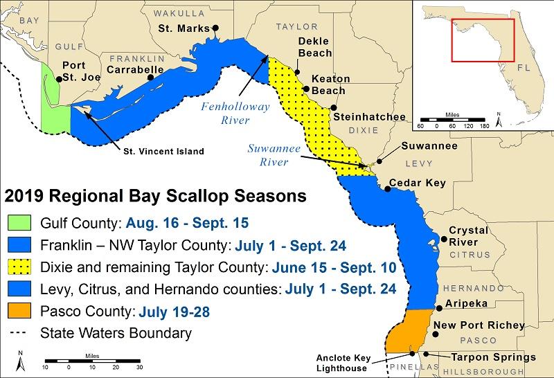 Florida Scalloping Season 2019 Map